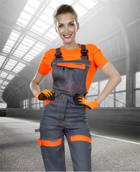 Pracovní kalhoty - Dámské kalhoty s laclem ARDON®COOL TREND šedo-oranžové  - O204408