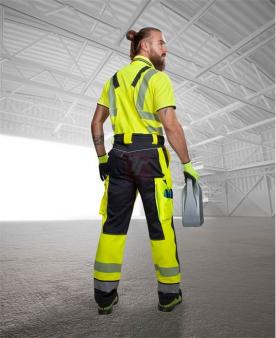 Pracovní montérky - Reflexní kalhoty s laclem ARDON®SIGNAL žluto-černé zkrácené  - O204794