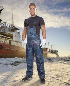 Zateplené zimní pracovní kalhoty - Zimní kalhoty s laclem ARDON®BC 60 K modré – DOPRODEJ